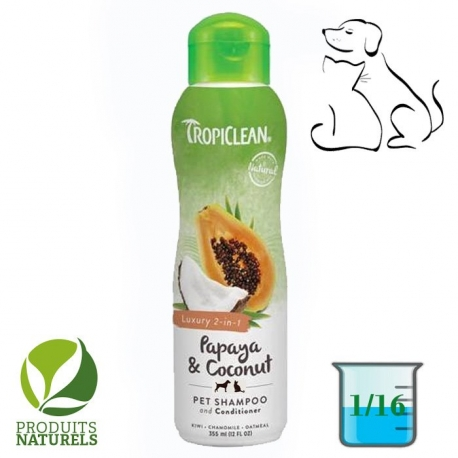 TropiClean Papaya & Coconut Shampoing Shampooing pour chien 2 en 1