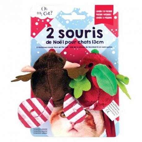 Lot de 2 souris de Noël en peluche pour chats