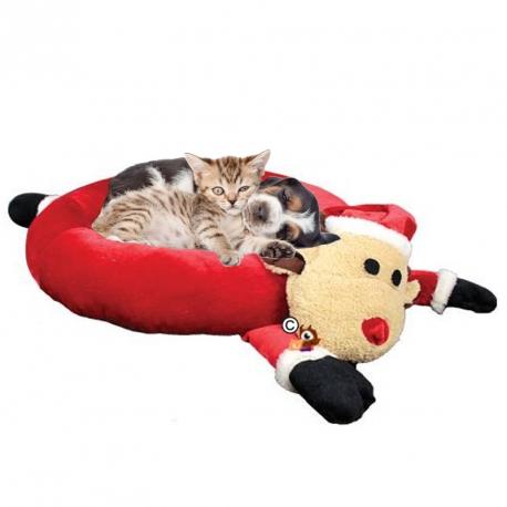 Corbeille pour chien chat renne de Noël 60x60 cm